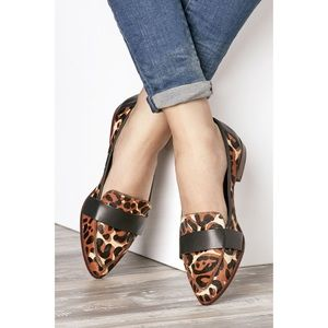 Sole Society Edie Leopard Pointy Toe Loafers 5.5